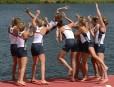 Les Américaines célèbrent leur médaille d'or en aviron au huit... | 2 août 2012