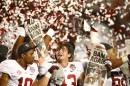 Les membres du Crimson Tide de l'Alabama célèbrent leur victoire... | 8 janvier 2013