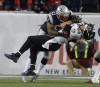 L'ailier rapproché des Ravens de Baltimore Dennis Pita encaisse un... | 24 janvier 2013