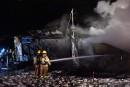 Le feu détruit un bâtiment de ferme à Bécancour