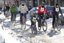 Le froid et le vent ne rebutent pas tous les cyclistes