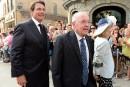 Pierre Karl Péladeau et l'ancien premier ministre du Québec, Bernard... | 15 août 2015