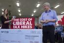 Harper sort des liasses de billets pour attaquer Trudeau
