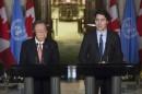 Trudeau évoque une trajectoire «difficile» de l'économie avec Ban Ki-moon