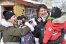 Bref passage de la famille Trudeau au Carnaval