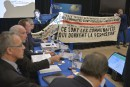 Des manifestants interrompent les audiences du BAPE sur Énergie Est