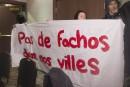 Marine Le Pen accueillie par des manifestants à Québec