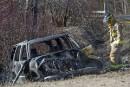 Un VUS prend feu après un accident