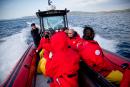 Collision entre un canot pneumatique et une baleine