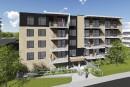 Le premier de cinq immeubles à logements en construction àSaint-Romuald