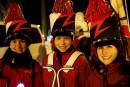 Les trompettistes Julie Gingras et Marie-Ève Couture entourent la percussionniste... | 11 février 2017