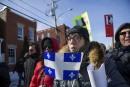 Des manifestants du groupe Les Soldats d'Odin à Trois-Rivières...   4 mars 2017
