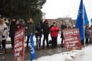 Manifestation devant l'Hôpital de Granby