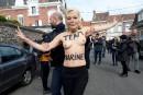 Une Femen protestant contre la candidate de l'extrême droite Marine...   23 avril 2017