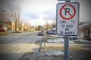Non au stationnement dans les rues en tout temps l'hiver