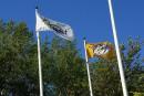 Un drapeau des Predators devant l'hôtel de ville de Bromont