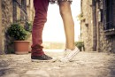 Young couple kissing outdor