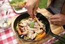 Pesto aux fanes de carottes, sur carottes rôties