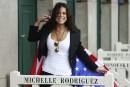 L'actrice américaine Michelle Rodriguez pose avec le drapeau des États-Unis... | 8 septembre 2017