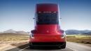 Cette photo fournie par Tesla montre l'avant aérodynamique du camion-remorque... | 17 novembre 2017