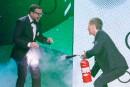 Mehdi Bousaidan et François Morency lors d'un sketch sur le... | 10 décembre 2017