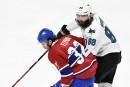 Brian Flynn, des Canadiens, et Brent Burns, des Sharks, lors... | 2 janvier 2018