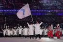 Groupés derrière le drapeau de l'unification coréenne - la silhouette... | 9 février 2018