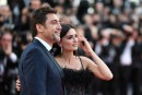 TOPSHOT - Spanish actor Javier Bardem (L) and Spanish actress Penelope Cruz pose as they arrive on May 8, 2018 for the screening of their film