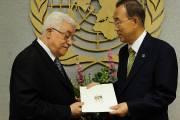 Le président Mahmoud Abbas a présenté vendredi la demande ...