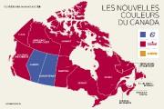 Le Canada a changé de couleurs après l'élection de lundi soir.