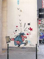 Une des plus récentes fresques murales, peinte sur... (Photo: Marie-Christine Blais) - image 2.0