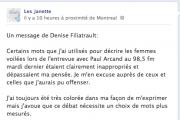 Message de Denise Filiatrault sur Facebook (cliquez pour... - image 1.0