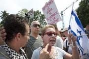Une militante pro-israélienne est venue faire flotter le... (PHOTO ROBERT SKINNER, LA PRESSE) - image 1.0
