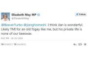 Elizabeth May affirme qu'elle était «ébranlée» par la... (Photo: tirée de Twitter) - image 1.0