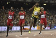 Usain Bolt a réussi à devancer l'Américain Justin... (PHOTO OLIVIER MORIN, AFP) - image 1.0