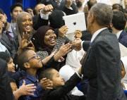 Barack Obama a rencontré des élèves de l'écoleAl-Rahmah... (PHOTO AP) - image 2.0