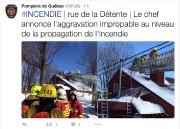 Les pompiers sont intervenus dans une résidence de... (Fil Twitter des pompiers de Québec) - image 1.1