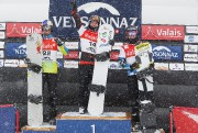 Le Baieriverain Baptiste Brochu (au centre) a célébré... (Photo Keystone via AP, Cyril Zingaro) - image 2.0