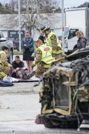Un accident impliquant un camion et deux voitures... (Spectre Média, Julien Chamberland) - image 1.0