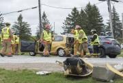 L'accident impliquait un semi-remorque et deux petites voitures.... (Spectre Média, Julien Chamberland) - image 2.0