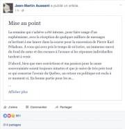 Un retour en politique de Jean-Martin Aussant est «exclu... (Tirée de Facebook) - image 2.0