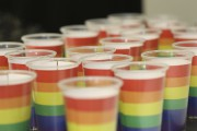 Quarante-neuflampions décorés aux couleurs du drapeau arc-en-ciel, un... (photo Christophe Boisseau-Dion) - image 2.0
