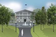 Une maquette du projet de réaménagement de l'avant-cour... (Courtoisie, Rideau Hall) - image 1.1