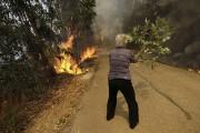 Une femme se sert d'une branche pour étouffer... (AP) - image 2.0