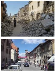 Une rue d'Amatrice avant et après le séisme.... (AP) - image 2.0