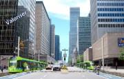 Illustration d'unSLR et tramway intégré à Montréal, un... (IMAGE FOURNIE PAR PROJET MONTRÉAL) - image 1.0