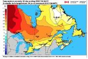 Sur cette carte, on note que les écarts... (Photo courtoisie Environnement Canada) - image 1.0