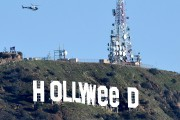 """The famous Hollywood sign reads """"Hollyweed"""" after it... (AFP) - image 7.0"""