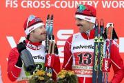Alex Harvey et Len Valjas sur le podium... (PHOTO ANDREA SOLERO, AP/ANDREA SOLERO) - image 1.0