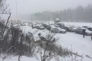Une quarantaine de véhicules ont été impliqués dans... (Photo fournie par Radio-Canada Estrie) - image 1.0